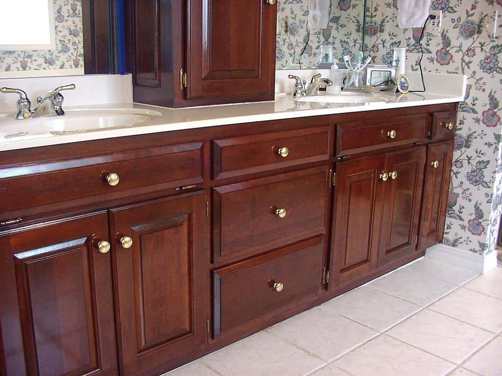 bathroom cabinets after refinishing photo