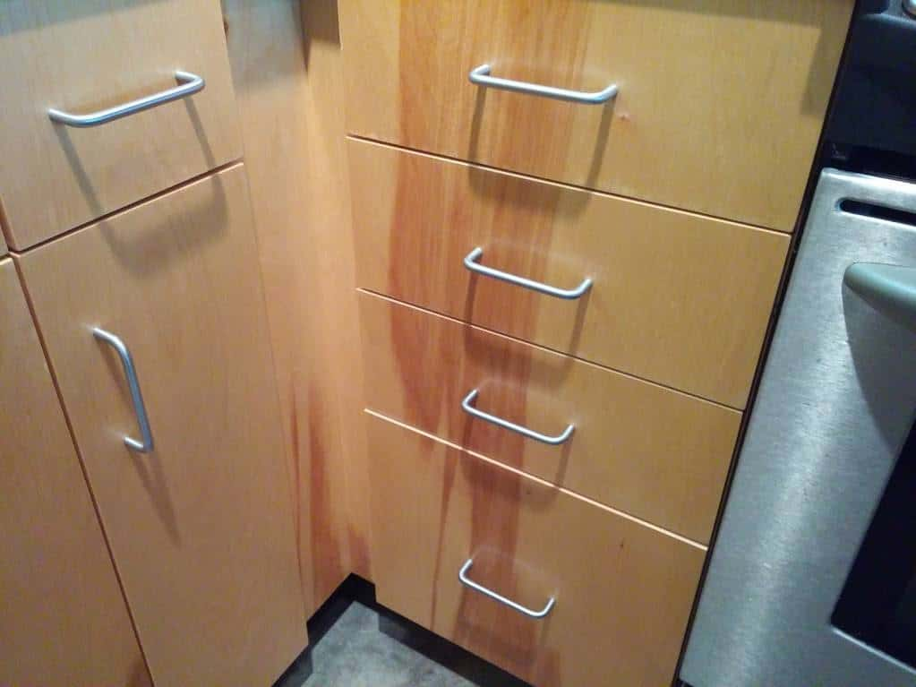 kitchen cabinets after refinishing photo