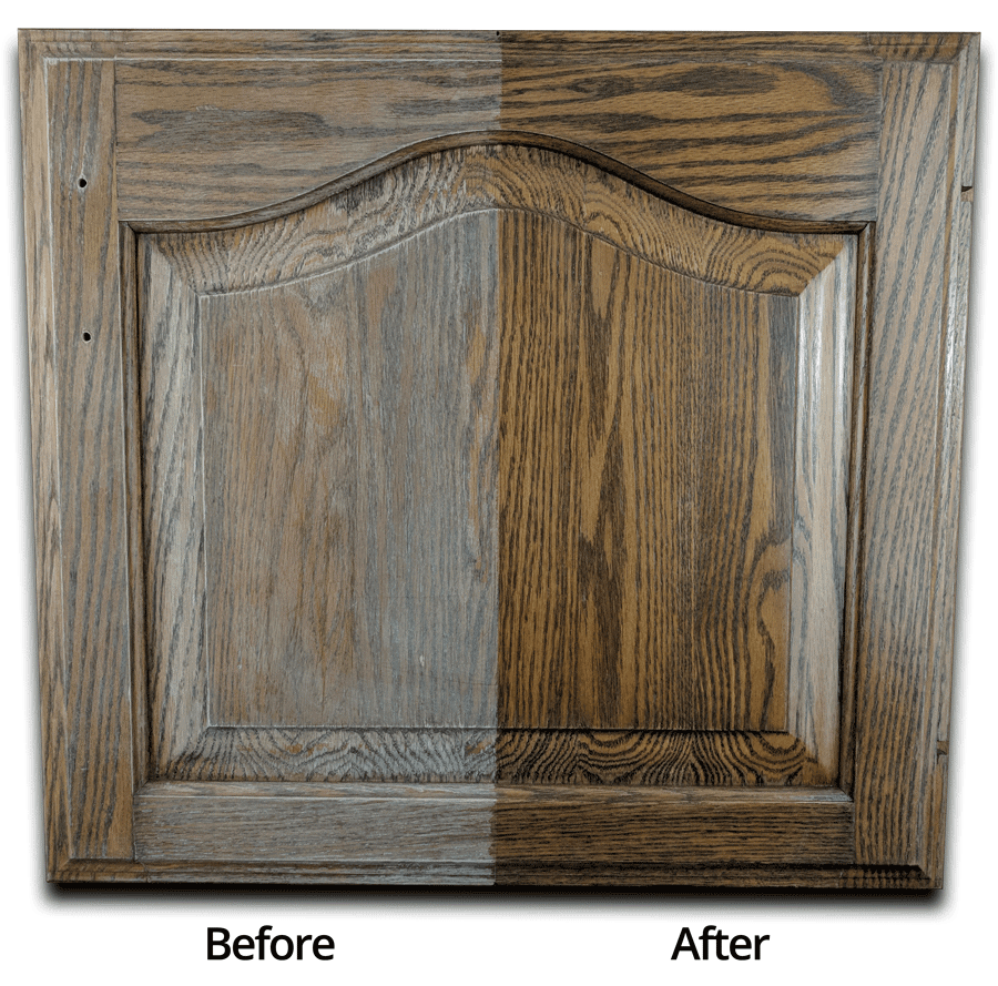 before after refinished cabinet door